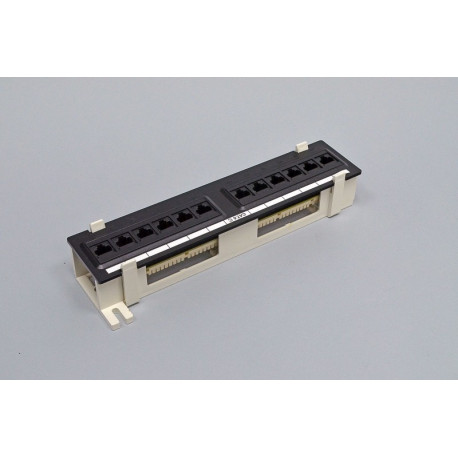Патч-панель настенная 12xRJ-45 UTP, кат. 6, dual type, в пластиковом корпусе, черная