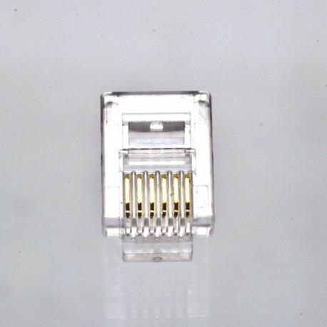 Коннектор телефонный RJ12, 6p6c.