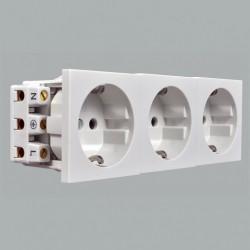 Модуль электрический тройной MK Electric, 220В, 150х50 мм, белый