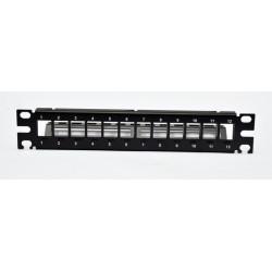 """Патч-панель 10"""" под 12 модулей Keystone, 1U с задним организатором"""